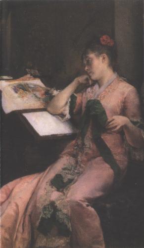 Acuarelista de abanicos. 1880. Óleo sobre lienzo. 75 x 50 cm