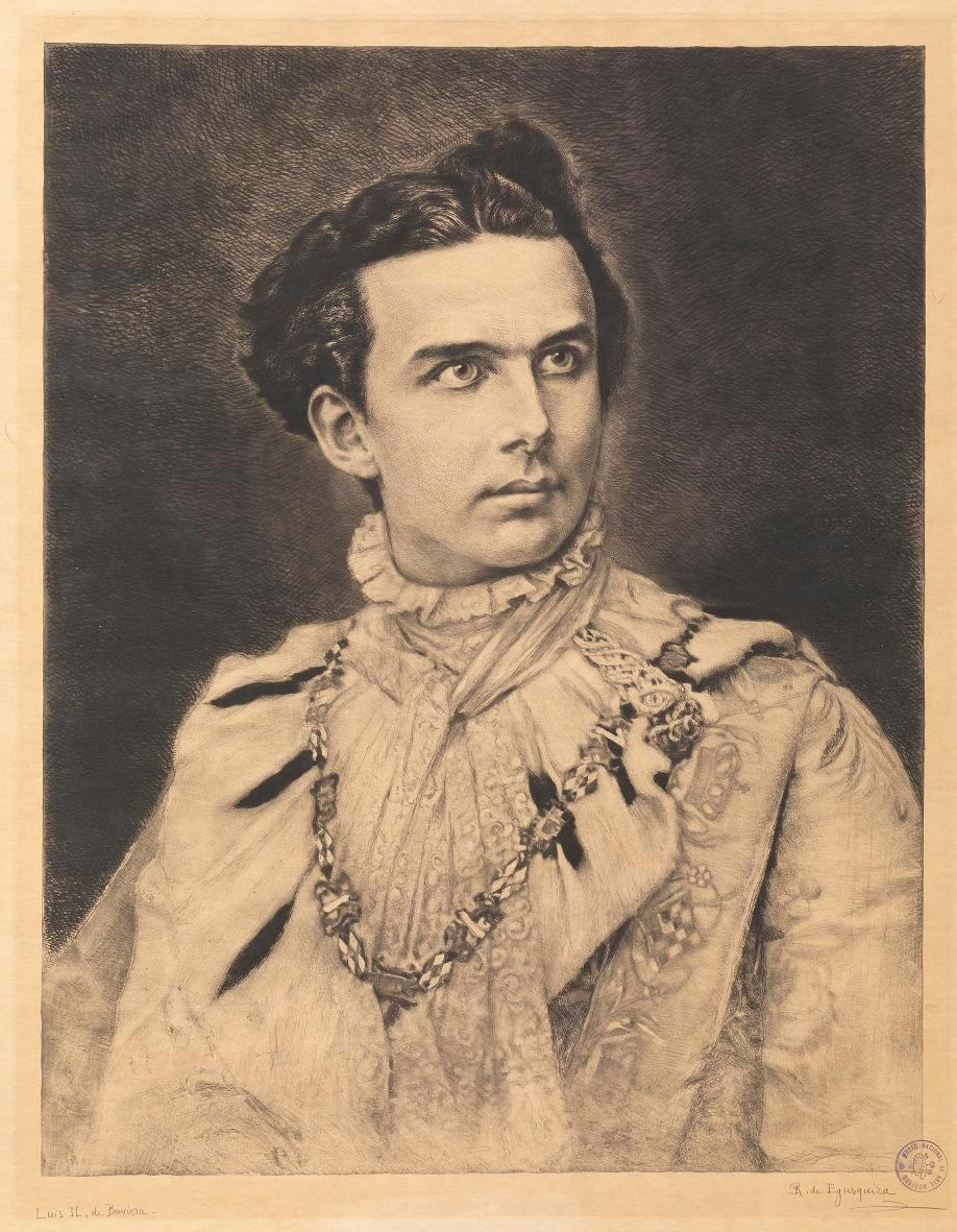 Luis II de Baviera. 1893. Aguafuerte. 47,5 x 36,8 cm