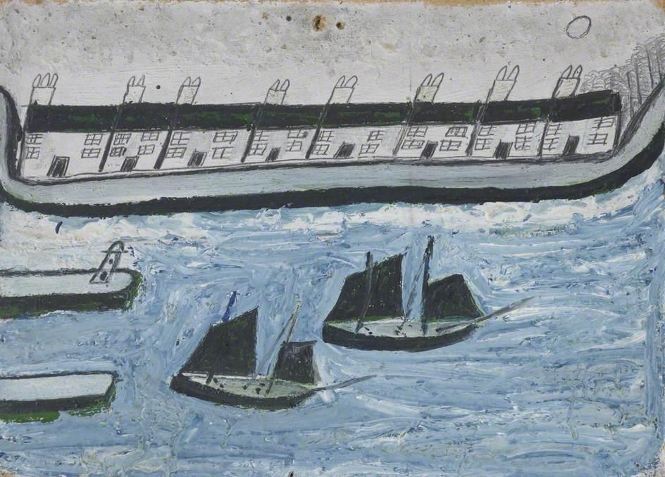 Alfred Wallis. Casas junto al mar (1928).