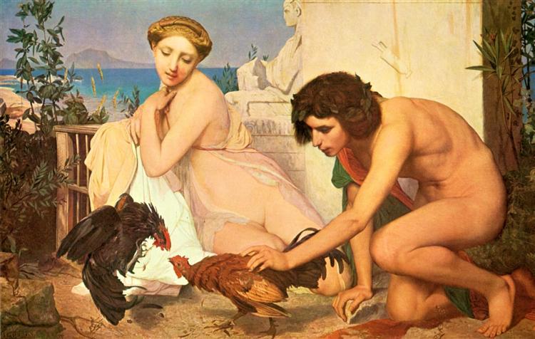 Jóvenes haciendo pelear a dos gallos (1846). Jean-Léon Gérôme.