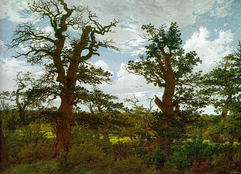 Paisaje con robles y un cazador (1811). Caspar David Friedrich.