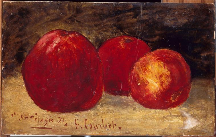 Tres manzanas rojas (1871). | Gustave Courbet