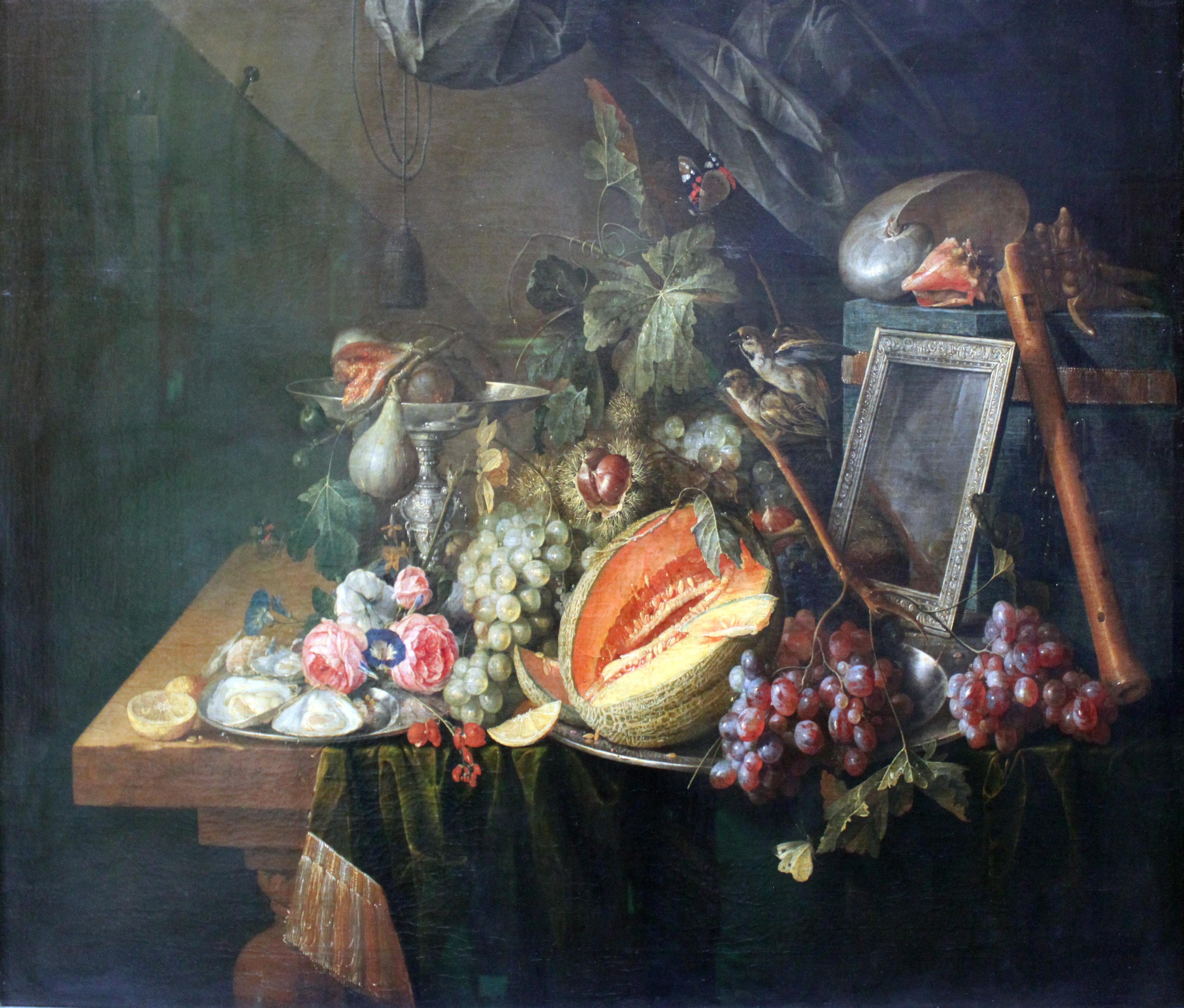 Cornelis de Heem. 'Bodegón con gorriones copulando' (1657).
